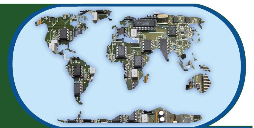 World Map covered in Electronics